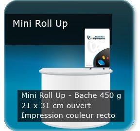 Kakémono / roll up Mini roll-up - Bache 450g - 21x30cm ouvert - Impression Couleur Recto - Anti-feux (norme unifugée classe M1) - livré monté