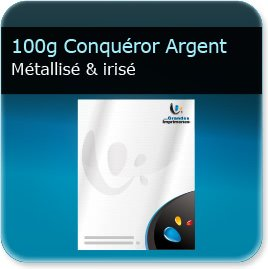 1000 en tete 100g Conquéror métallisé Argent Irisé - Compatible imprimante laser & jet d'encre