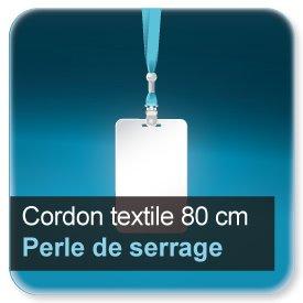Badge Cordon pour badge en textile 80 cm avec perle de serrage