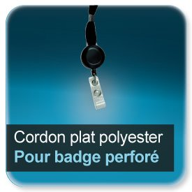 Badge Cordon pour badge 40cm + enrouleur extention à 58 cm en polyester plat 15mm + clip attache pour badge perforé