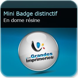 Badge plastique personnalisé Badge bouton insigne distinctif (club, idéo, association, cause, défense) dome résine 4,3mm effet loupe, fixation barre aimanté