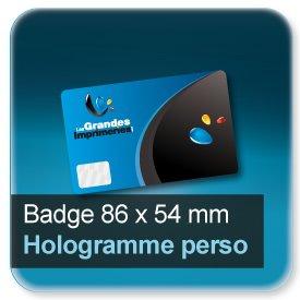 Badge Format 86x54mm + hologramme personnalisé