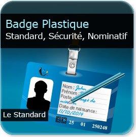 Badge plastique personnalisé Badge de sécurité plastique d'entreprise + zone écriture stylo