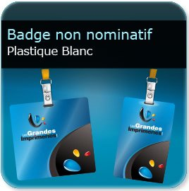 Badge Badge plastique Polyester Blanc 0,65 mm brillant miroir