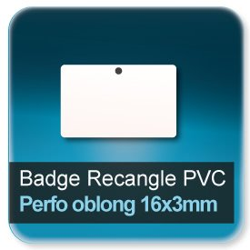 Badge Rectangle plastique perforé rond de 5,5mm