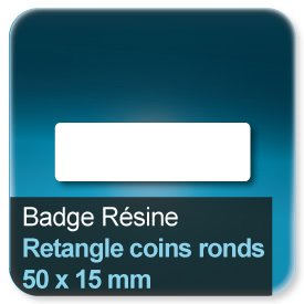 Badge Rectangle avec coins ronds 15x50mm