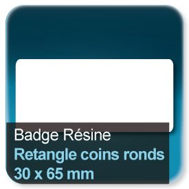 Badge Rectangle avec coins ronds 30x65mm