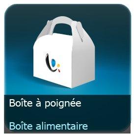 Emballage (Coffret, Boîte, carton, colis et etuis) Boite à poignée alimentaire carton personnalisé 360g Delipac (Résistant aux huiles, recyclable, compostable et biodégradable)