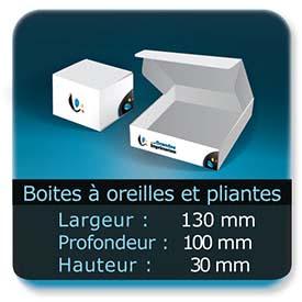 Emballage (Coffret, Boîte, carton, colis et etuis) Largeur de 130 mm - Profondeur 100 mm - Hauteur de 30 mm