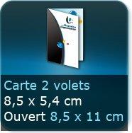 Cartes de visite 2 volets 85 x 54 mm fermé - 85 x 111 ouvert - Impression couleur Recto et Verso quadri