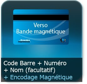 Badge Option encodage magnétique verso + numéro ou numéro et nom prénom recto