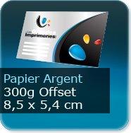 Cartes de visite Carte de visite papier argent platine - 85 x 54 mm 300g offset
