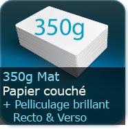 Cartes de visite 350g mat + pelliculage brillant Recto et Verso