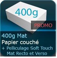 Cartes de visite 400g Mat Couché + Pelliculage Mat Soft Touch au Recto et Verso