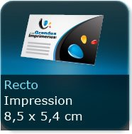 Cartes de visite Format 85 x 54 mm - Impression couleur Recto seul quadri