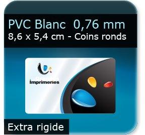 Cartes de visite PVC Plastique Blanc - Vernis Satiné - Extra rigide 0,76 mm - 8,6 x 5,4 cm