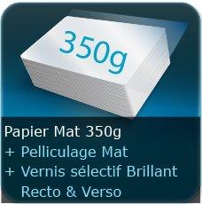 Chemises à rabats 350g mat + vernis sélectif brillant & pelliculage mat au Recto et Verso