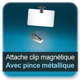 Badge Clip d'attache pour badge avec pince metallique autocollante + épingle (31x27x13mm) - ref7917