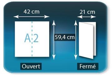 Dépliants / Plaquettes Ouvert A2  42 x 59,4 cm - Fermé 21 X 59,4 cm