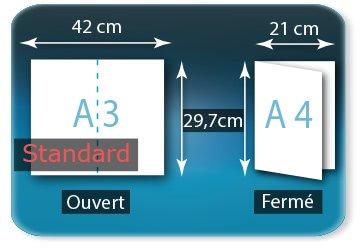 Dépliants / Plaquettes Ouvert A3  29,7 x 42 cm - Fermé A4  21 X 29,7 cm