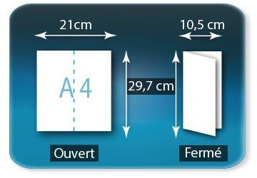 Dépliants / Plaquettes Ouvert A4  21 x 29,7 cm - Fermé 10,5 X 29,7 cm