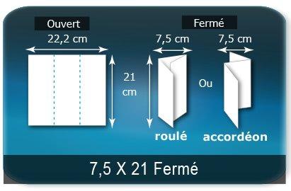 Dépliants / Plaquettes Ouvert 21 x 22,2 cm - Fermé 7,5 x 21 cm