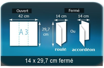 Dépliants / Plaquettes Ouvert A3  29,7 x 42 cm - Fermé 14 x 29,7 cm