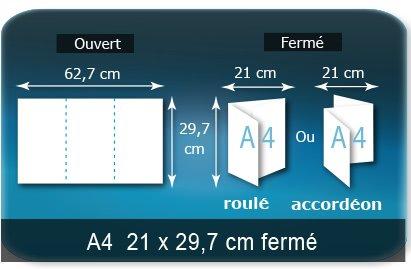 Dépliants / Plaquettes Ouvert 29,7 x 62,7 cm - Fermé A4  21 x 29,7 cm