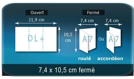 Dépliants / Plaquettes Ouvert DL 10,5 x 21,9 cm - Fermé A7  7,4 x 10,5 cm