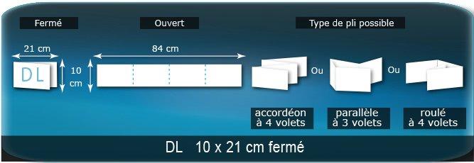 Dépliants / Plaquettes Ouvert 10 x 84 cm - Fermé DL  10 x 21 cm
