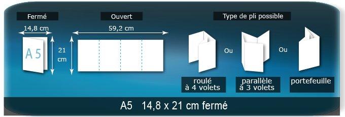 Dépliants / Plaquettes Ouvert 21 x 59,2 cm - Fermé A5 14,8 x 21 cm