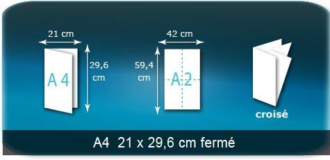 Dépliants / Plaquettes Ouvert A2  42 x 59,4 cm - Fermé A4  21 x 29,7 cm
