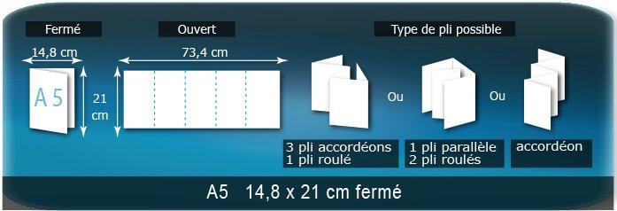 Dépliants / Plaquettes Ouvert 21 x 74 cm - Fermé A5  14,8 x 21 cm