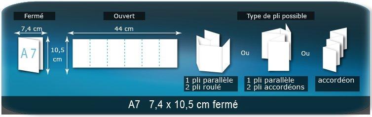 Dépliants / Plaquettes Ouvert 10,5 x 43,6 cm - Fermé A7  7,5 x 10,5 cm