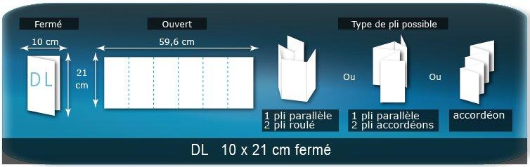 Dépliants / Plaquettes Ouvert 21 x 58,8 cm - Fermé DL  10 x 21 cm
