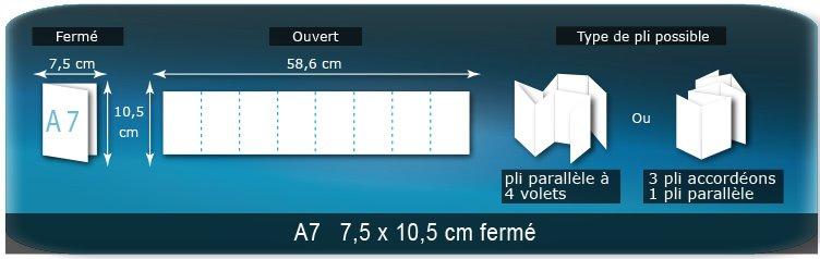 Dépliants / Plaquettes Ouvert 10,5 x 57,9 cm - Fermé A7  7,5 x 10,5 cm