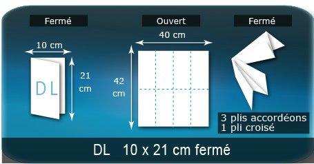 Dépliants / Plaquettes Ouvert 40 x 42 cm - Fermé DL  10 21 cm