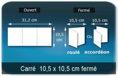 Dépliants / Plaquettes Ouvert 10,5 x 31,2 cm - Fermé 10,5 x10,5 cm