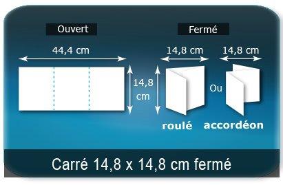 Dépliants / Plaquettes Ouvert 14,8 x 44,4 cm - Fermé 14,8 x 14,8 cm