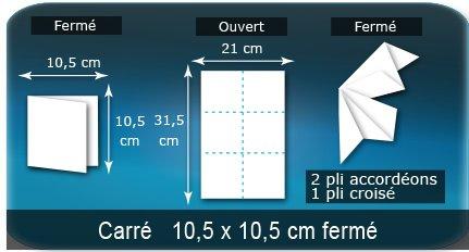 Dépliants / Plaquettes Ouvert 21 x 31,5 cm - Fermé 10,5 x 10,5 cm