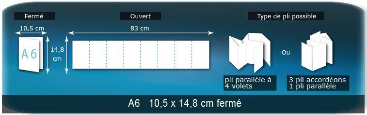 Dépliants / Plaquettes Ouvert 14,8 x 83,4 cm - Fermé A6  10,5 x 14,8 cm