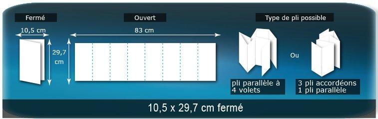 Dépliants / Plaquettes Ouvert 29,7 x 83 cm - Fermé 10,5 x 29,7 cm