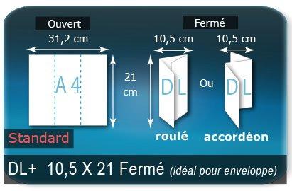 Dépliants / Plaquettes Ouvert 21 x 31,2 cm - Fermé DL+  10,5 x 21 cm