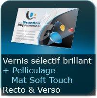 Dépliants / Plaquettes Pelliculage Soft Touch Mat au Recto et Verso + Vernis Sélectif Brillant au Recto et Verso
