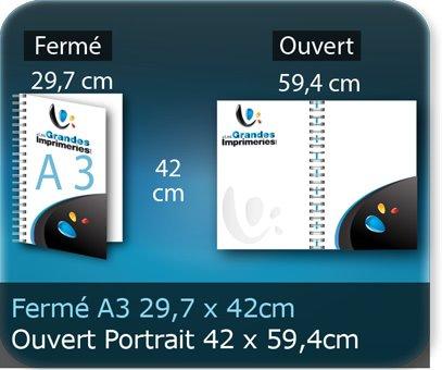 Menus a3 29,7 X 42 Cm Fermé - Ouvert En Portrait 59,7 X 42 Cm