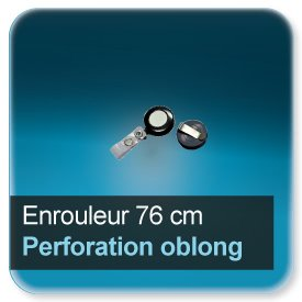 Badge Enrouleur pour badge perfore en 16x3mm oblong - extension 76 cm attache lanière vinyle renformé