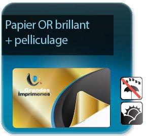 Autocollant & Étiquette Etiquettes papier Or brillant + pelliculage
