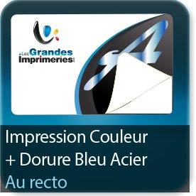 Autocollant & Étiquette Quadri recto + dorure Bleu acier