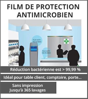 PRODUITS DÉCONFINEMENT Film de protection sans impression antimicrobien transparent- Lamination antimicrobiens - réduction bactérienne est sup. à 99,99 pour cent