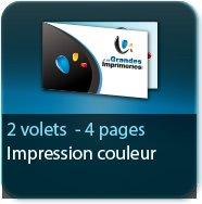 Cartes de correspondance 2 volets - 4 pages - impression Couleur Recto et Verso quadri